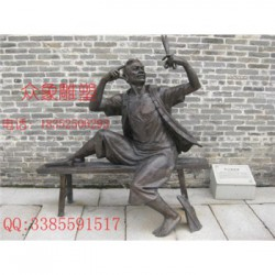 玻璃钢铸铜雕塑坐着的人