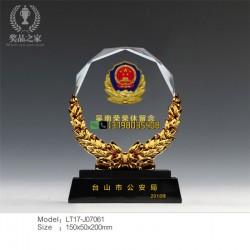 公安退休典礼纪念 荣誉表彰仪式奖品吉林市公安退休摆件